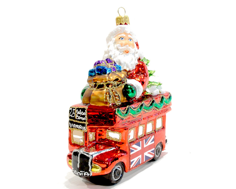 Christmas Glass Ornament Santa in London Bus - Renio & Clark