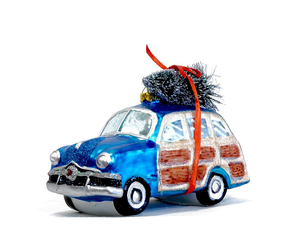 Auto Weihnachtsbaum.Gift Company Glas Hänger Woodie Auto Mit Tannenbaum
