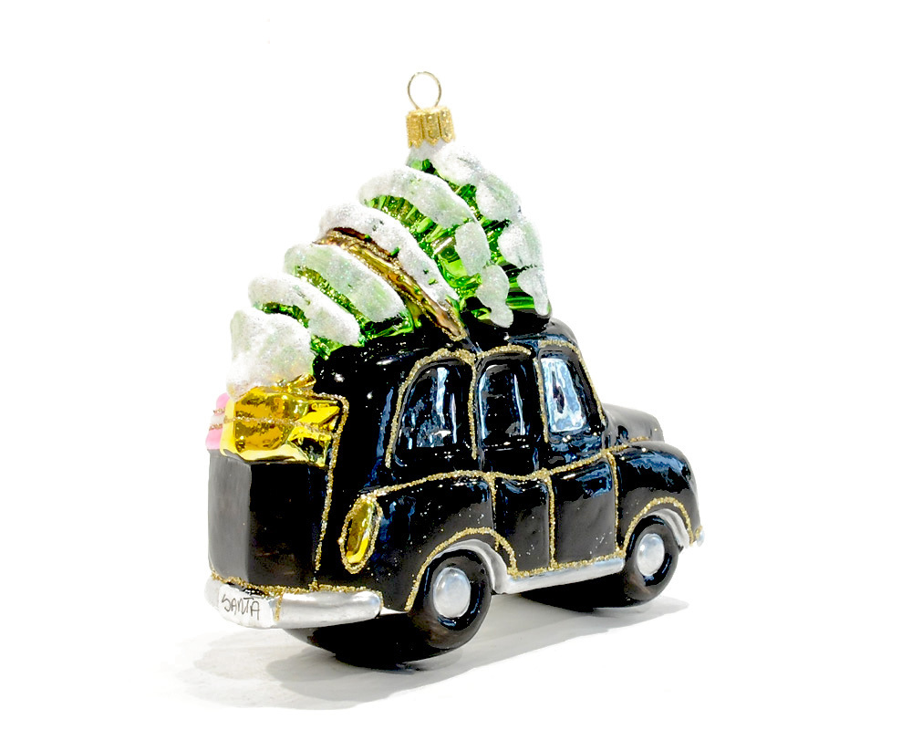 pendentif en verre papa noel dans taxi londres renio clark. Black Bedroom Furniture Sets. Home Design Ideas