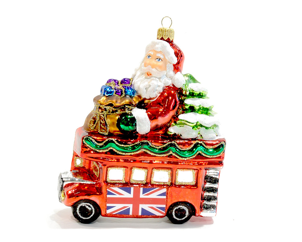 Christmas Glass Ornament Santa in London Bus  Renio  Clark