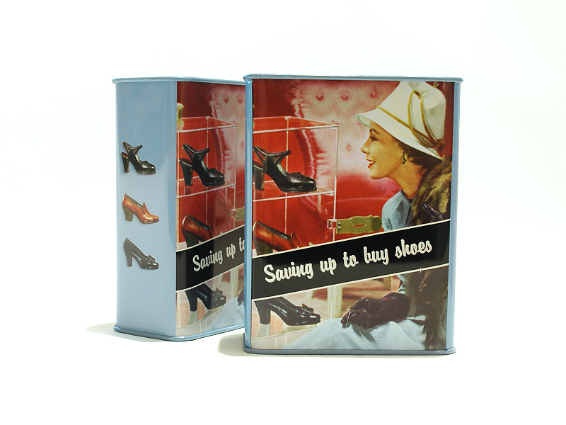 "Retro Humor Spardose ""Saving up for Shoes"""