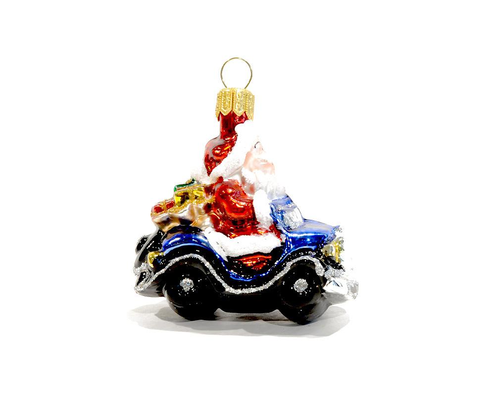 Nostalgic christmas glass ornament car with santa claus