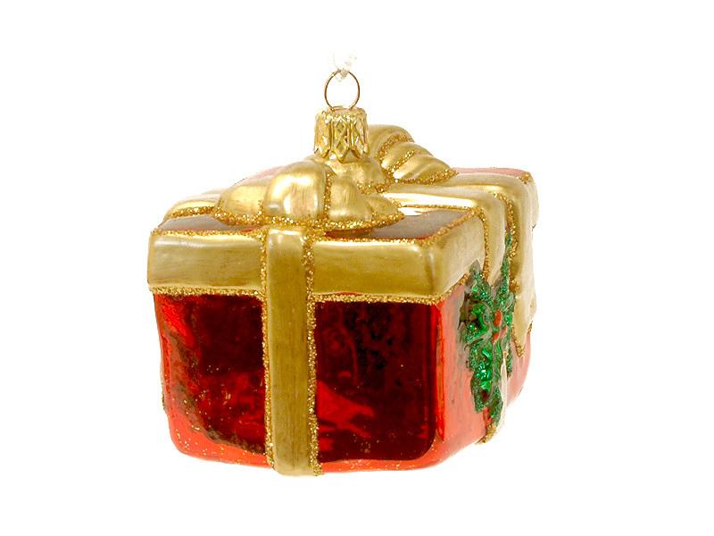 Christmas glass ornament gift box with big bow renio
