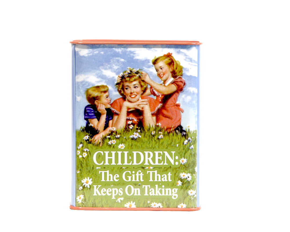 "Retro Spardose ""Children: The gift that keeps on taking"""