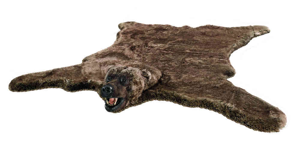 Stunning Fake Fur Grizzly Bear Rug With Head