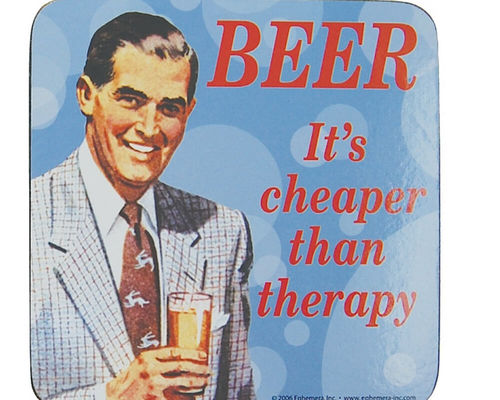"Untersetzer Bierdeckel ""Beer. It's cheaper than therapy"""