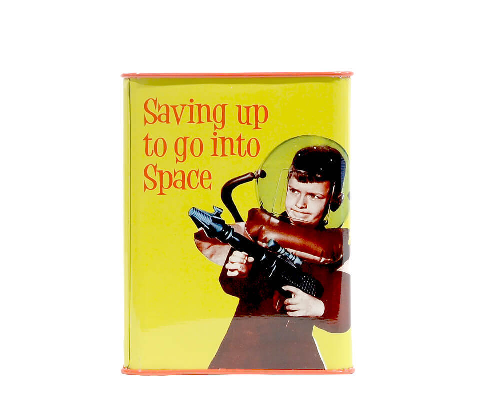 "Retro Humor Spardose ""Saving up to go to space"""