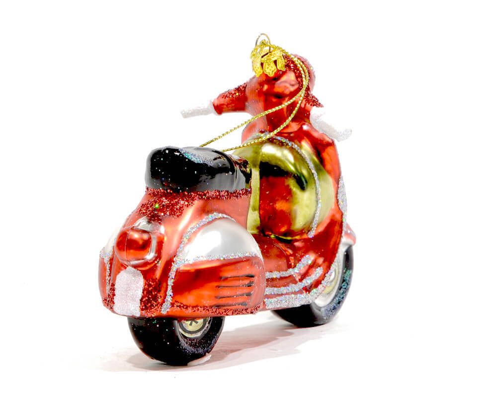 Christbaum Glas Hanger Motorroller Rote Vespa Renio Clark