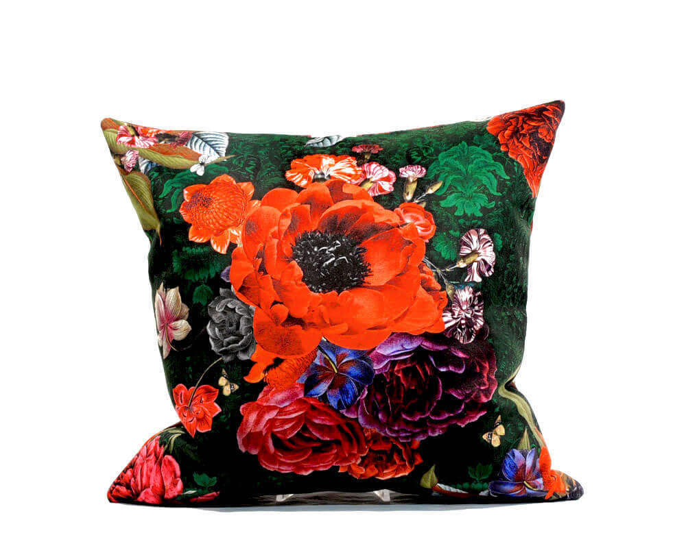 Punk meets Poetry Velour Pillow Cover Red Flowers - Renio