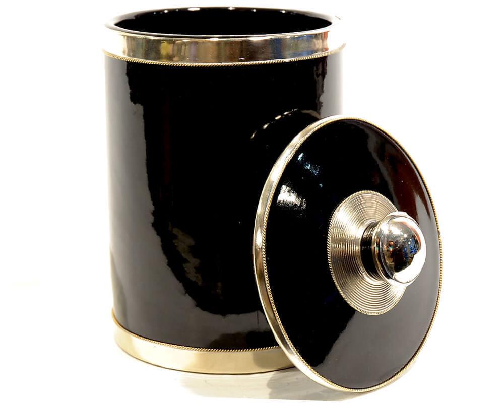 schwarze xl keramikdose mit deckel aus marrakesch renio clark. Black Bedroom Furniture Sets. Home Design Ideas