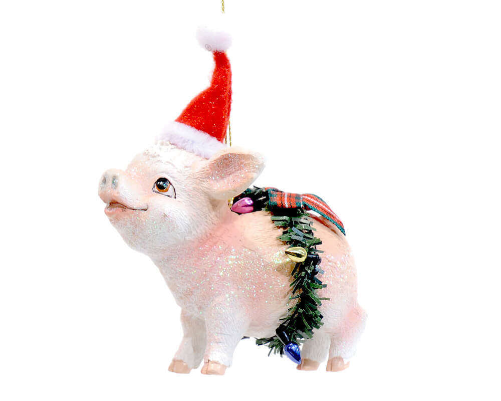 Christmas Resin Ornament Piglet With Santa Hat Renio Clark