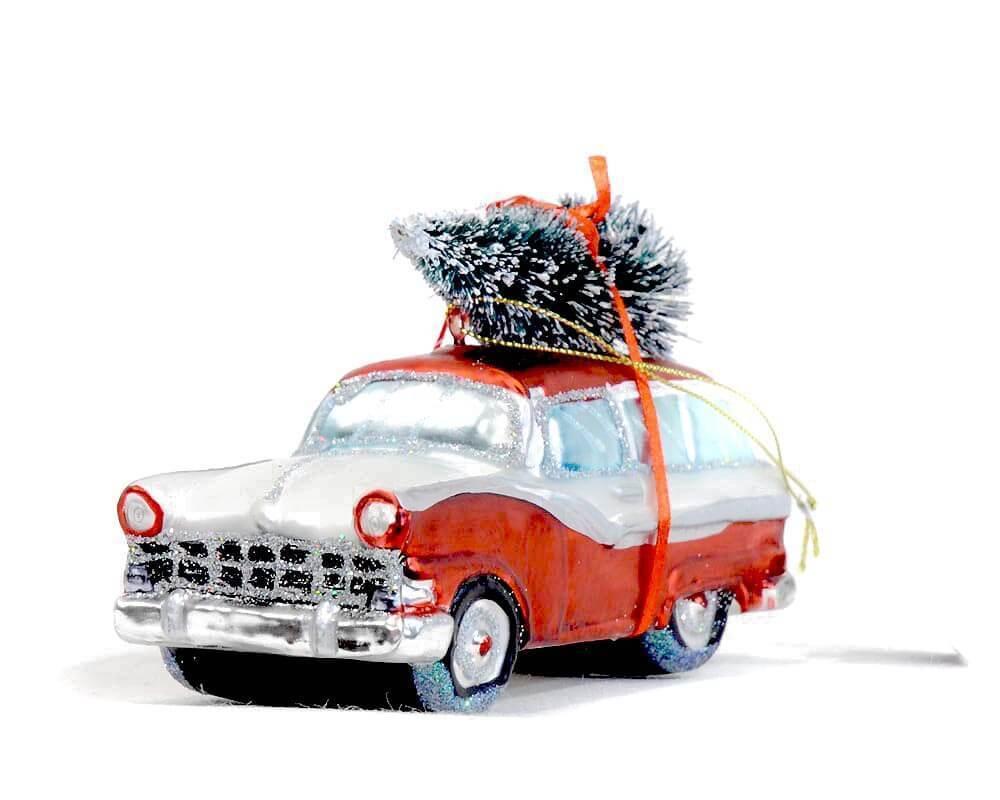 Car Christmas Tree.Decorative Glass Ornament Red Car Christmas Tree