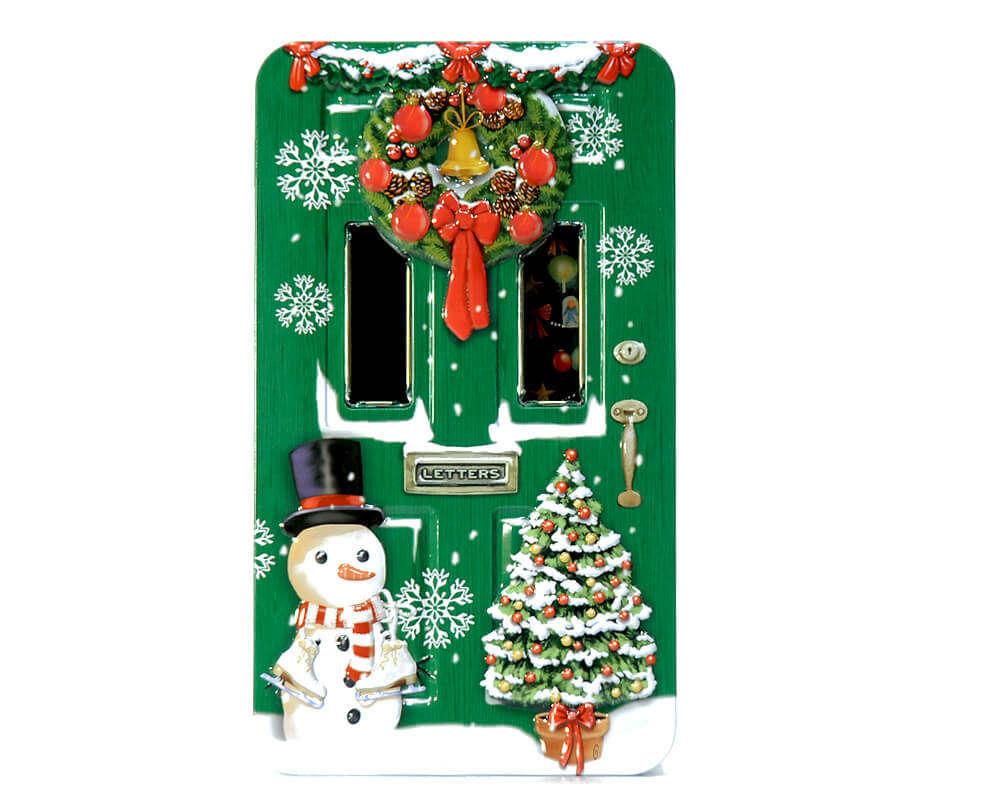 Boite A Bicuits Porte De La Maison Vert Decore Pour Noel R C