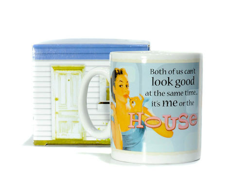 "Boxed ceramic coffee mug ""Both of us can't ..."""