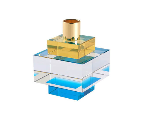 Candle Holder Dioptrics Crystal yellow + blue