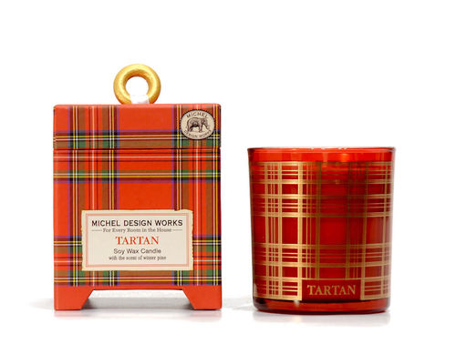 "Scented Soy Wax Candle Michel Design ""Tartan"""
