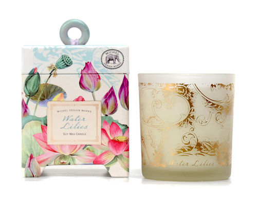 "Scented Soy Wax Candle Michel Design ""Water Lilies"""