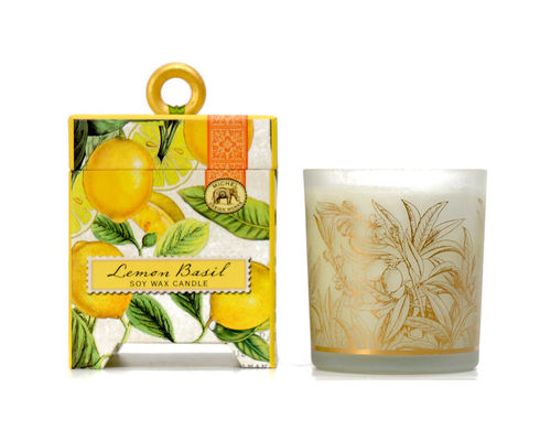 "Scented Soy Wax Candle Michel Design ""Lemon Basil"""